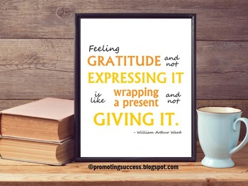 Gratitude Inspirational Quote Poster by William Arthur Ward Thanksgiving Poster