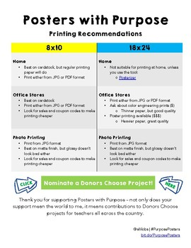 Poster with Purpose Printing Recommendations