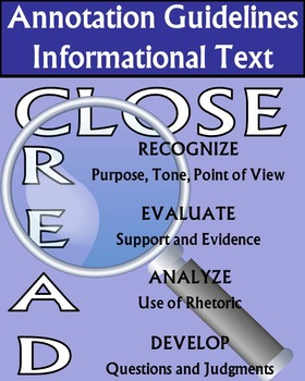 Close Reading & Annotation Guidelines Informational & Literary Texts 3 Posters