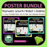 Posters BUNDLE - Teamwork Growth Mindset Kindness 3 x Classroom Poster Sets