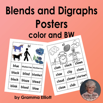Blends and Digraphs Posters in Color and BW