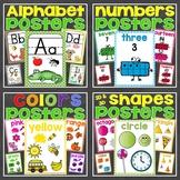 Posters Bundle (Alphabet Letters, Numbers 0-20, 2D & 3D Shapes, Colors)