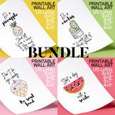 Posters Bundle, Inspirational Quotes, Pineapple Cactus Wat