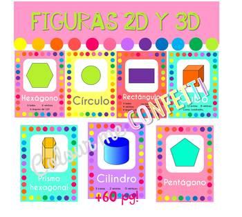 Posters Figuras Geométricas 2D y 3D - Colour me Confetti