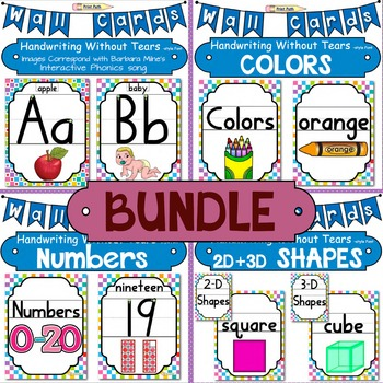 Posters: Letters, Colors, Numbers, Shapes BUNDLE Handwriti