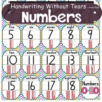 0-20 Number Posters, Number Name,  & 10 frame.  Handwriting & Cognitive Supports