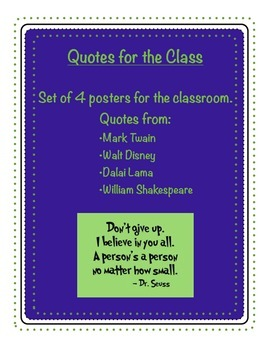 Posters - Quotes for the Class