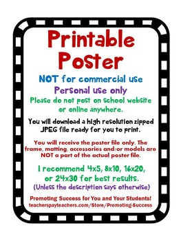 Pink & Blue Polka Dot & Chevron Classroom Decor Posters Inspirational Quotes