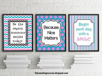 Pink & Blue Polka Dot & Chevron Classroom Decor Posters In