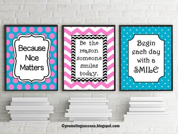 Set of 3 Teacher Classroom Posters with Inspirational Quot