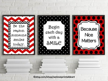 Red and Black Chevron & Polka Dot Classroom Posters with Inspirational Quotes
