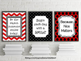 Red and Black Classroom Decor, Be the Reason Someone Smiles Quote Posters