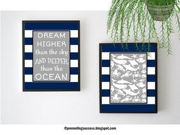 Ocean Animals Nautical Theme Motivational Quote Posters Classroom Decor