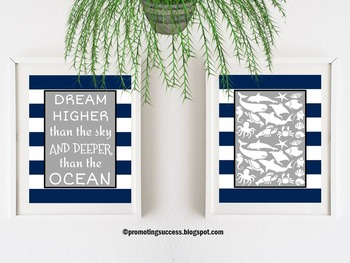 Ocean Animals Nautical Theme Motivational Quote Posters Cl