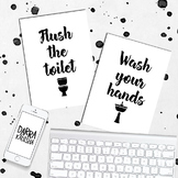 Posters Wash your hands and Flush the toilet
