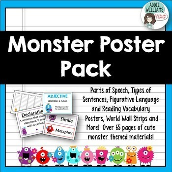 Parts of Speech, Figurative Language, Types of Sentences - Posters & More!