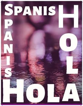 """Posters con las palabras """"Spanish"""" y """"Hola"""""""