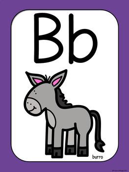 Posters de alfabeto con ilustraciones de animales