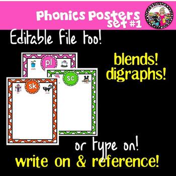 Phonics Posters for Blends, Digraphs, & Trigraphs!  Editable file! SET 1