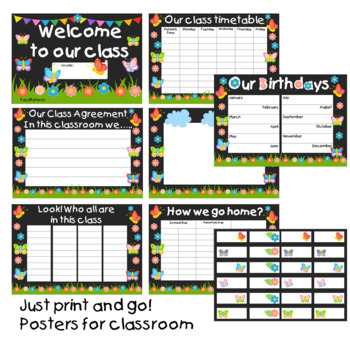 Posters for Classroom - Butterfly and Garden Theme