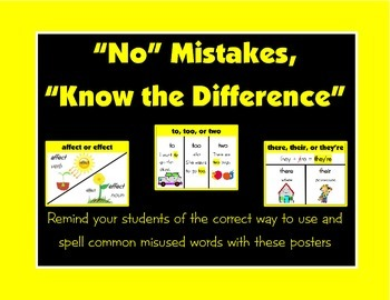 """No"" Mistakes, ""Know"" the Difference - Posters for Common Misused Words"