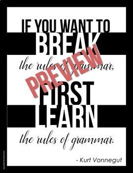 Posters for ELA Classrooms: Inspirational Grammar Quotes