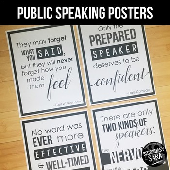 Public Speaking Posters for English Classrooms