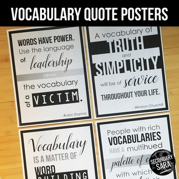 Posters for ELA Classrooms: Inspirational Vocabulary Quotes