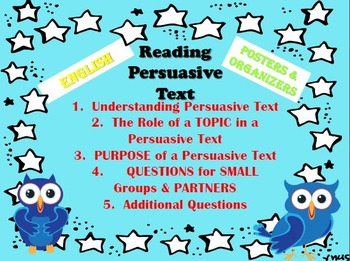 Posters for Reading a Persuasive Text (ENGLISH) & Writing a Persuasive Text