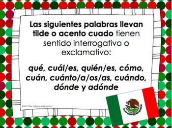 Expresiones interrogativas y exclamativas acentos signos. Posters for classroom