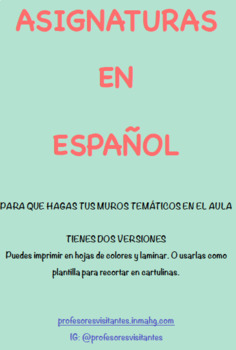 Posters for subjects in Spanish