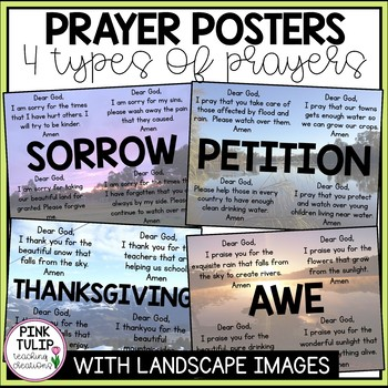 Posters for the 4 Types of Prayers - Sorrow, Petition, Thanksgiving, Awe