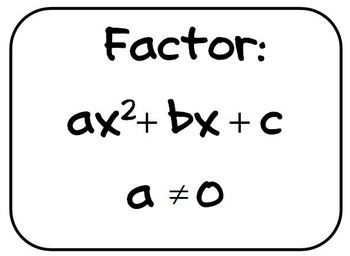 """Posters for the Math Classroom - Factor Quadratic Trinomials with """"a"""" not 1"""