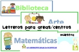 Posters/ labels for centers - Posters/letreros para centros