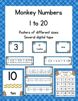 Number Posters 1-20 - Monkey-themed
