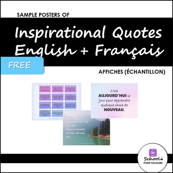 Posters of Inspirational Quotes in English and French- FREE Sample