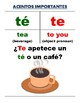 Posters of Spanish Words with/without Accents: Te & Papa