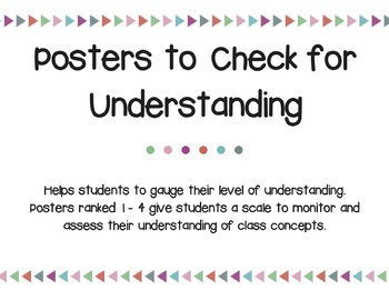 Posters to Check for Understanding