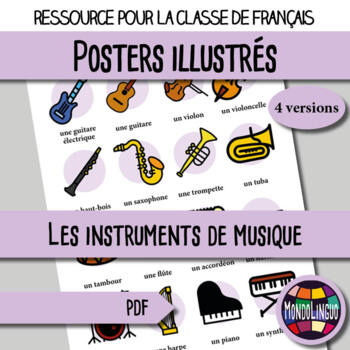 Posters to teach French/FFL/FSL: Instruments de musique/Music Instruments