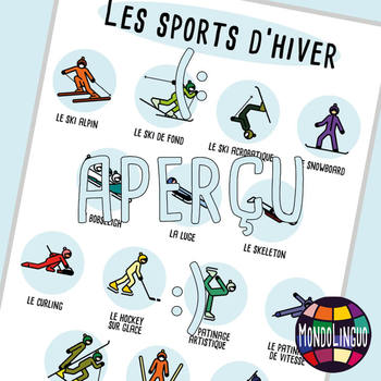 Posters to teach French/FFL/FSL: Sports d'hiver/Winter Sports