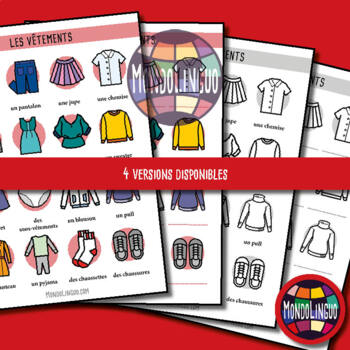 Posters to teach French/FFL/FSL: Vêtements/Clothing