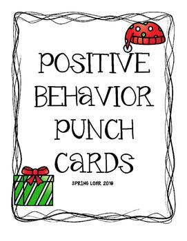 Postive Behavior Punch Cards - Christmas Theme - Cute