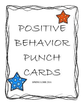 Postive Behavior Punch Cards - Star Design