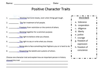 Postive Character Traits of Famous Historical Figures