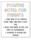 Postive Notes for Parents (English & Spanish!)