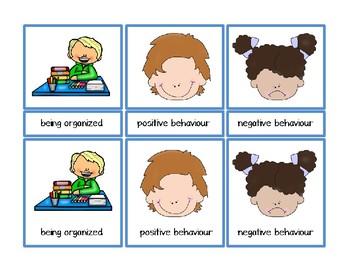 Postive and Negative Behaviour Montessori Three Part Vocabulary Cards behavior