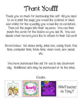 Postivie Behavior Punch Cards - Bug Theme - Cute