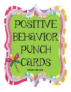 Postivie Behavior Punch Cards - Bug Theme - Cute