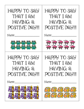 Postivie Behavior Punch Cards - Monsters at School Theme - Cute