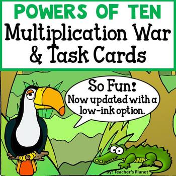 Powers of Ten Multiplication War and Task Cards! 5.NBT.2